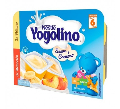 Nestle yogolino suave y cremoso (100 g 3 tarrinas platano 3 melocoton)
