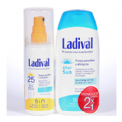 Ladival piel sensible o alergica spray fps 25 - fotoproteccion media gel-crema + aftersun (duplo 200