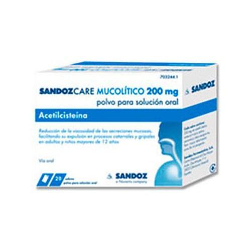 ACETILCISTEINA SANDOZ CARE 200 mg POLVO PARA SOLUCIÓN ORAL , 20 sobres