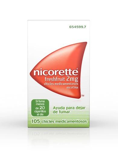 NICORETTE FRESHFRUIT 2 mg CHICLES MEDICAMENTOSOS, 105 chicles