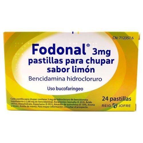 FODONAL 3 MG PASTILLAS PARA CHUPAR SABOR LIMON 24 pastillas