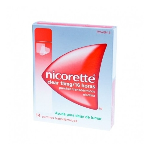 NICORETTE CLEAR 15 MG/16 HORAS PARCHES TRANSDERMICOS 14 parches (Bolsa multilaminada en papel/lámina