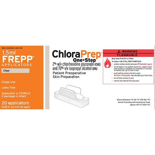 CHLORAPREP INCOLORO 20 MG/ML + 0,70 ML/ML SOLUCION CUTANEA , 20 aplicadores de 1,5 ml (Frepp)