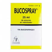 BUCOSPRAY 15 mg/ml + 0,5 mg/ml  SOLUCION PARA PULVERIZACION BUCAL , 1 frasco de 25 ml
